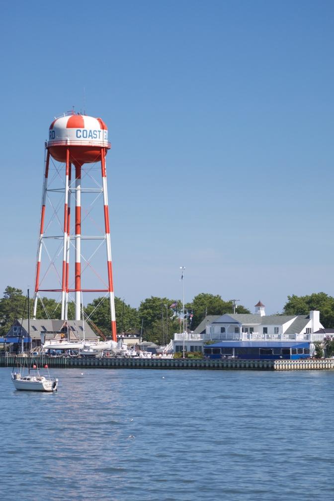 Corinthian Yacht Club next to Coast Guard water tower.