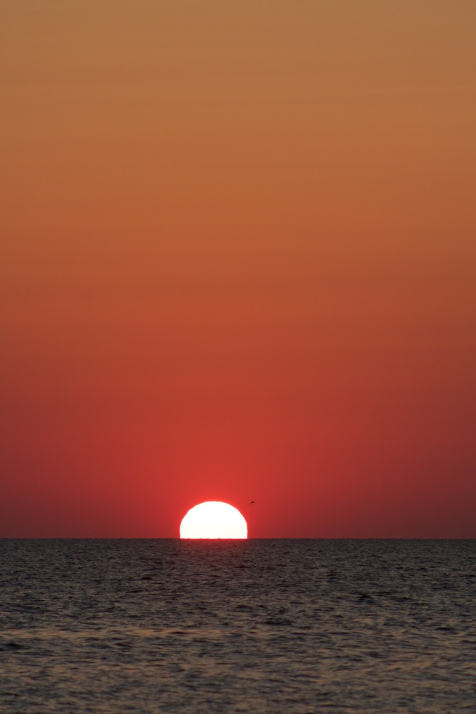 Setting sun with ocean in foreground and an orange sky.