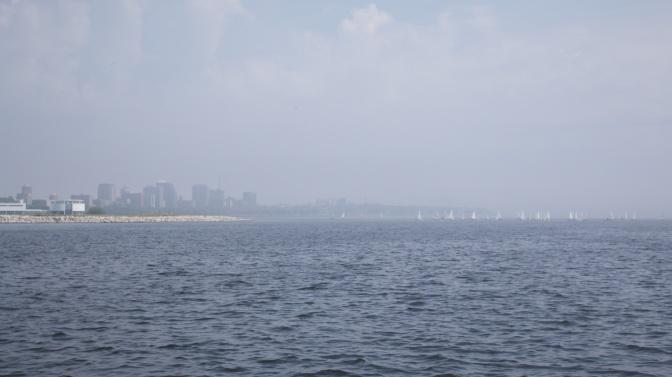 Coastline of Milwaukee, covered in fog.