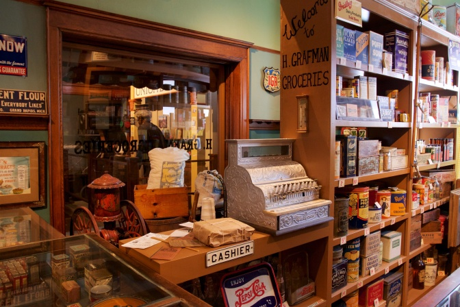 Recreation of turn of the century grocery store.