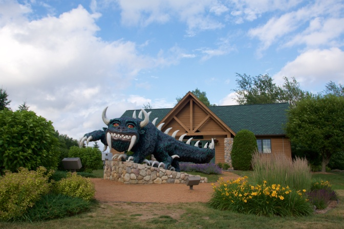 Hodag sculpture in front of town's Visitor Center.