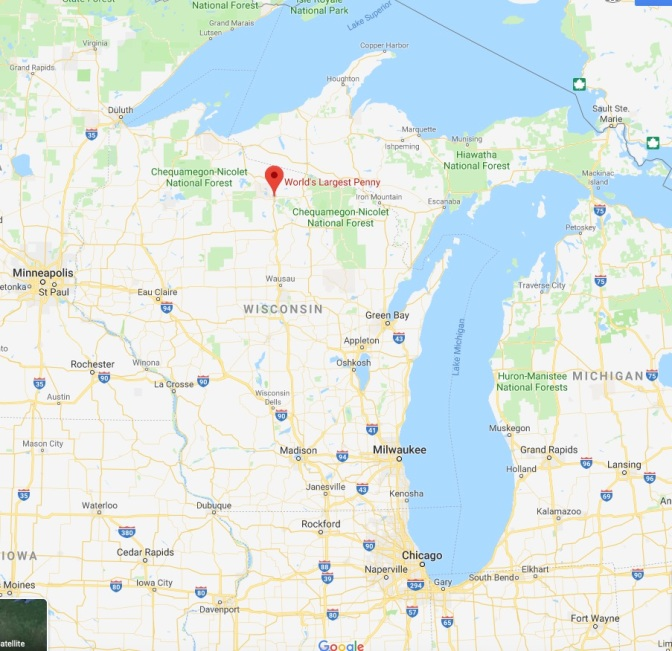 Map of Wisconsin with red pin in location of the World's Largest Penny.