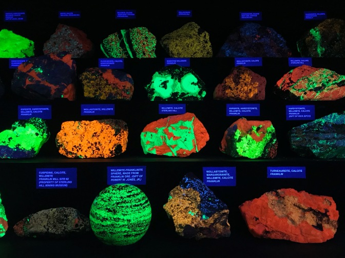 Fluorescent minerals in the dark.