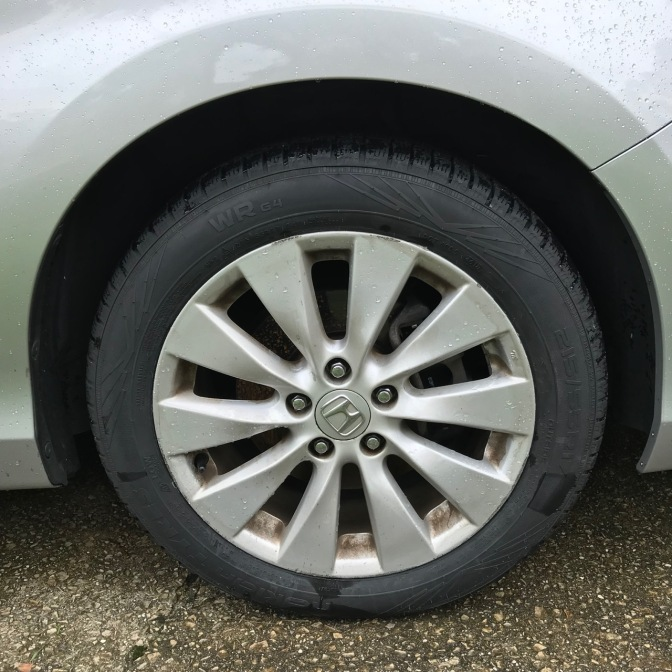 Nokian WR G4 tires wrapped on wheel of 2015 Honda Accord.