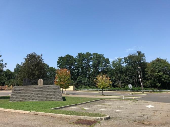 Gravesite in parking lot.