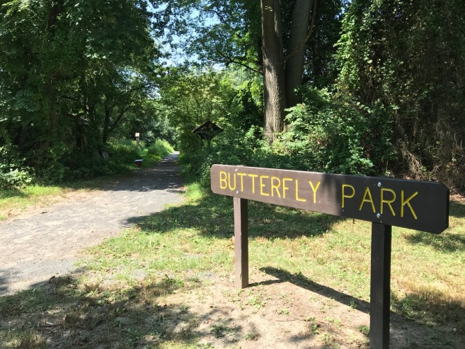 Entrance to Butterfly Park, with a sign that says BUTTERFLY PARK on the side of the path.