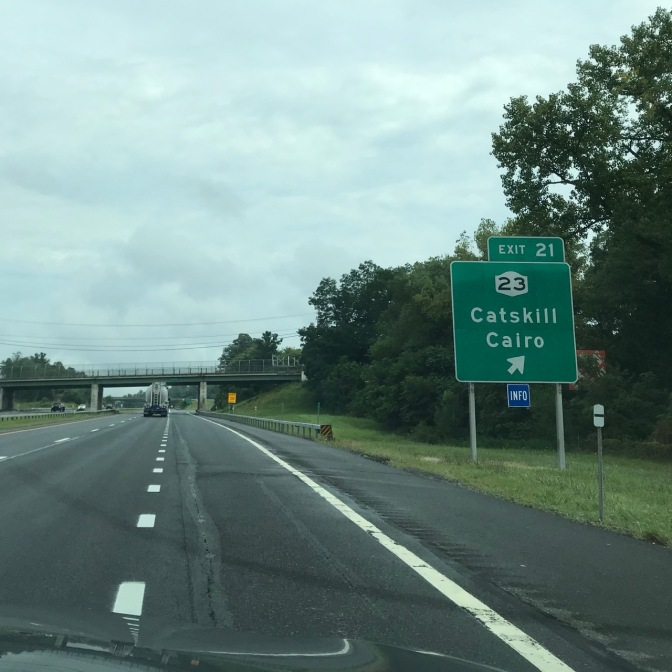 Roadside sign beside highway that says EXIT 21 23 CATSKILL CAIRO