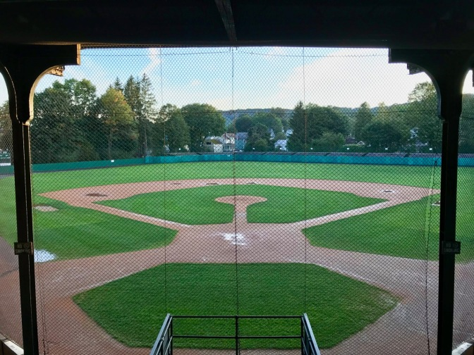 View of Doubleday Field from behind home plate.
