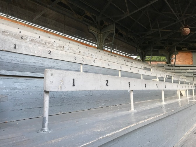 View of stands within the grandstand behind home plate.