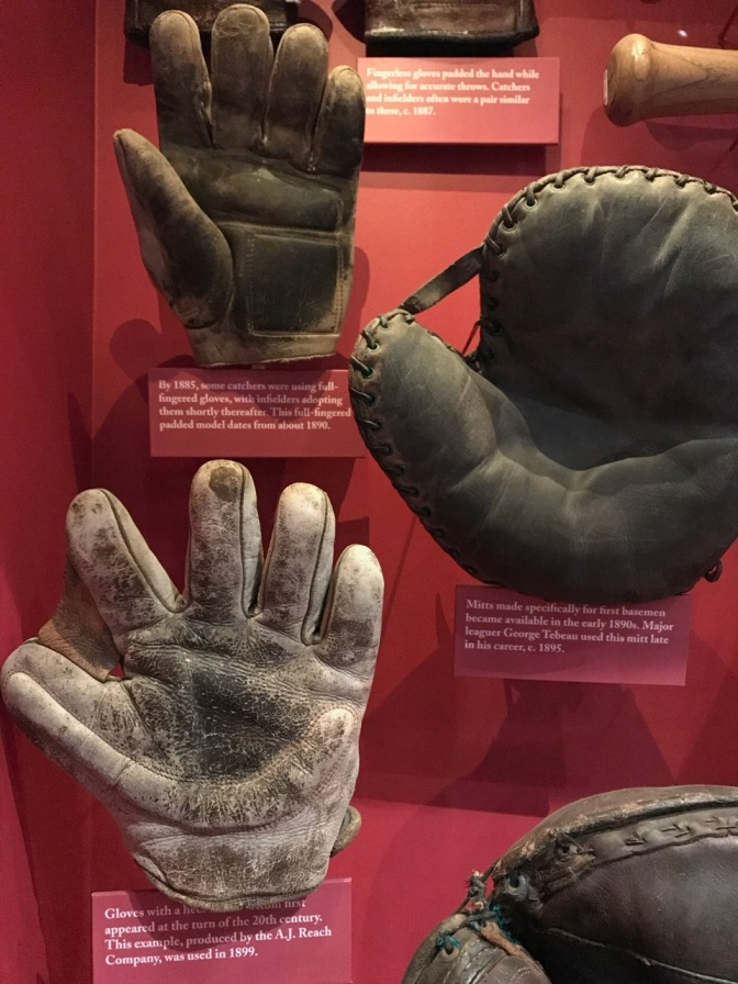 19th century baseball gloves and catchers mitts.