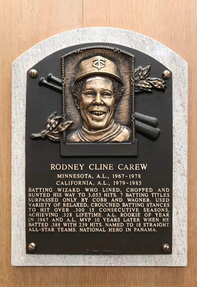 Plaque for Rodney Cline Carew Minnesota AL 1967-1978 California AL 1979