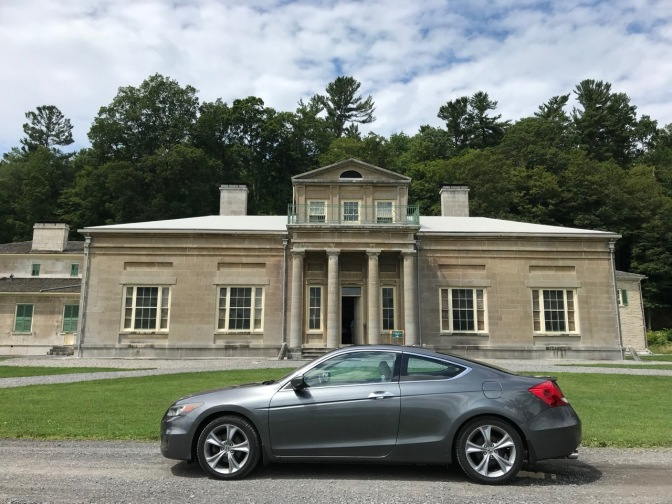 Exterior of Hyde Hall with 2012 Honda Accord in foreground.
