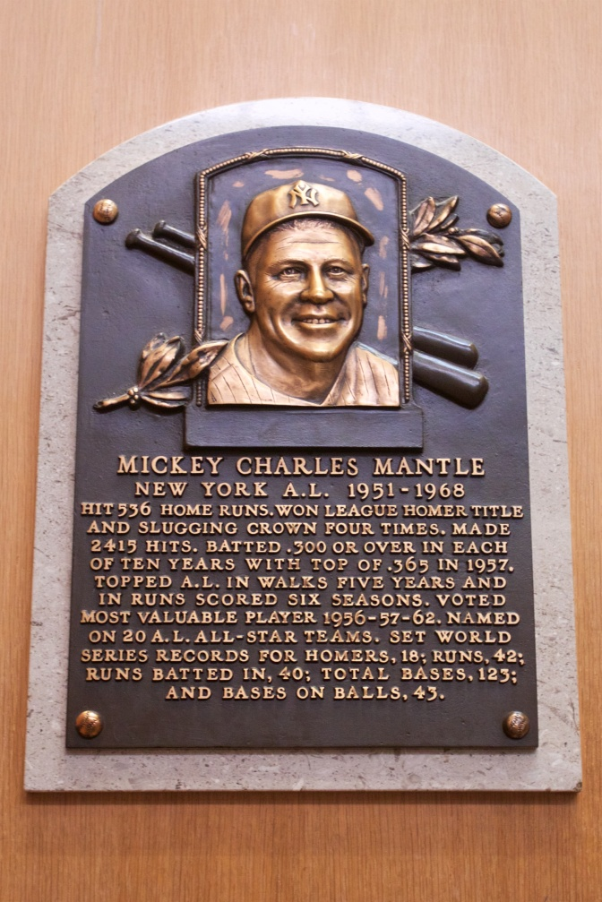 Plaque of Mickey Charles Mantle New York A. L. 1951-1968