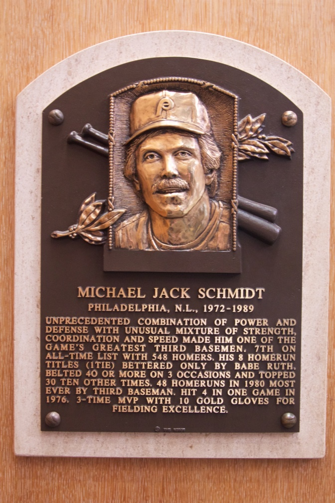 Plaque of Michael Jack Schmidt Philadelphia N.L 1972-1989.
