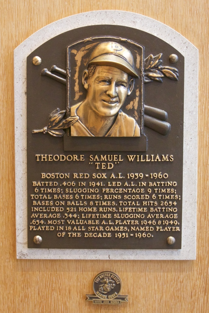 "Plaque for Theodore Samuel Williams ""TED"" Boston Red Sox A.L. 1939-1960."