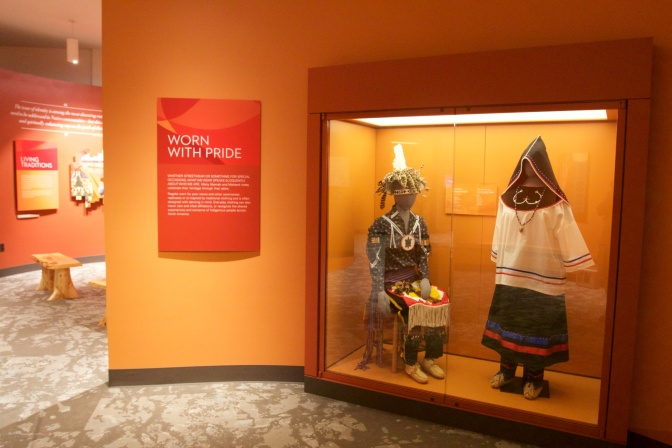 Ceremonial dress for man and woman of Abenaki tribe.