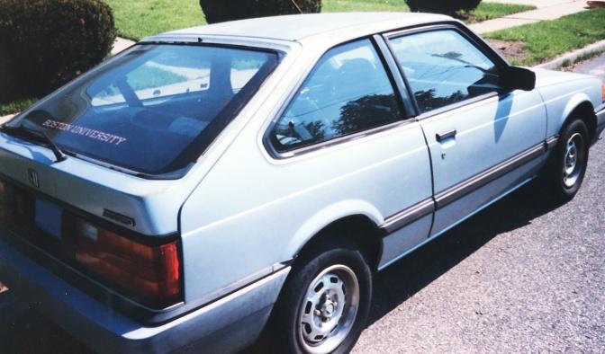 Side profile of 1984 Honda Accord hatchback.
