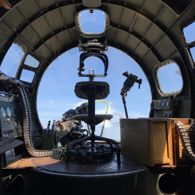 Bombardier's station on B-17 bomber.