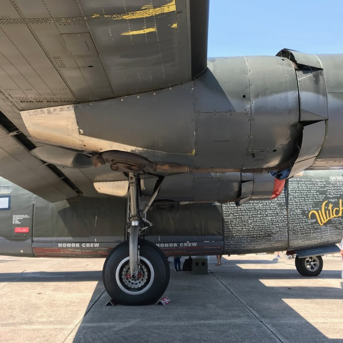 Wing and engine of B-24.