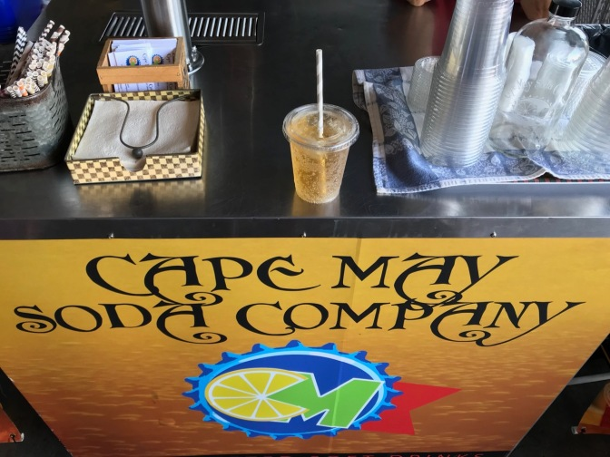 Cream soda on cart that says CAPE MAY SODA COMPANY.