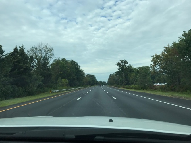 View of I-287 with clouds in distance.