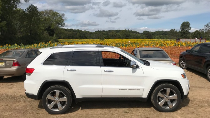 2014 Jeep Grand Cherokee in front of field of flowers.