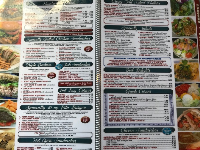 Diner menu, with entree items, sandwiches, wraps, burgers, and salads.