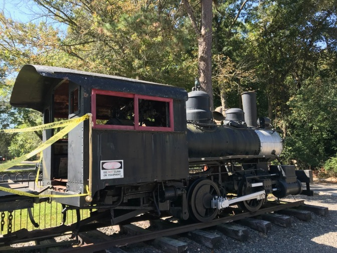 Small locomotive (black) on a short track.