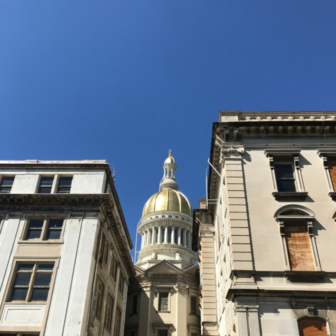 Exterior of NJ capitol building, including gold rotunda.