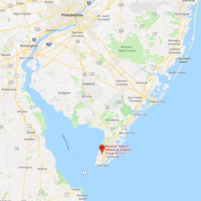 Map of New Jersey with red pin in location of Naval Air Station Wildwood.