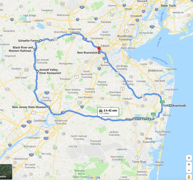 Map of central New Jersey with route from New Brunswick to Asbury Park to Allaire State Park to the New Jersey State Museum to the Black River Western Railroad to Schaefer Farms.