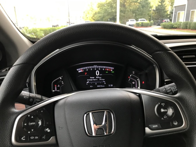 Dashboard and steering wheel of 2019 Honda CR-V.
