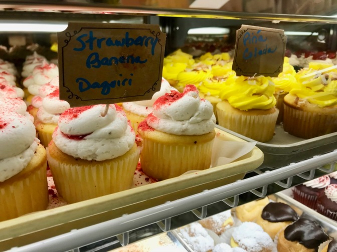 Strawberry Banana Daquiri and Pina Colada cupcakes.