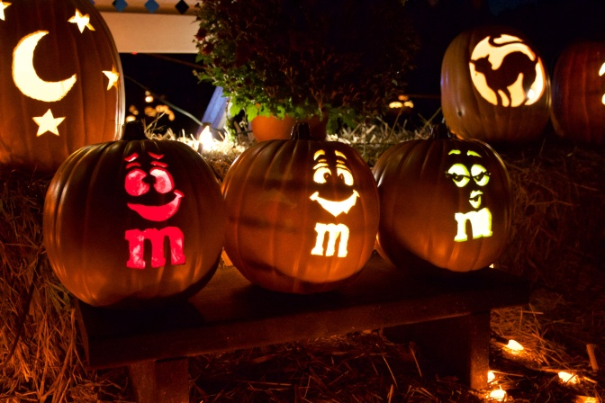 M and M candies carved into pumpkins
