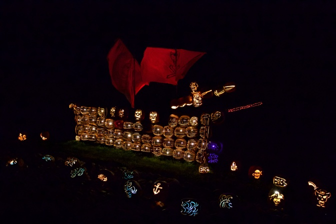 Pirate ship made of Pumpkins
