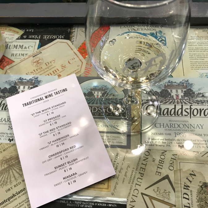 Wine glass and wine tasting card on bar top covered with wine labels.