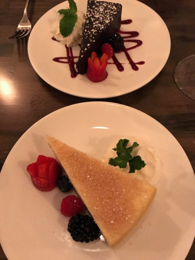 Chocolate torte and a cheesecake.