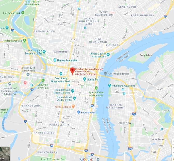 Map of Philadelphia with a red pin in the location of Reading Terminal Market.