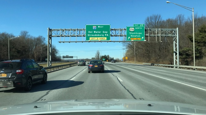 View of I-206 exit sign toward I-80. Sign says 80 WEST DEL WATER GAP STROUDSBURG PA LEFT 3 LANES