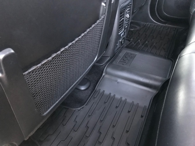 All-weather floor mat across rear seat floor.