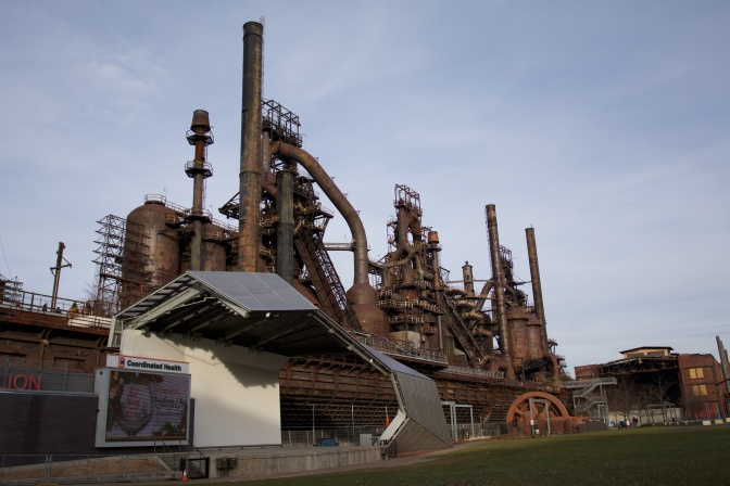 Exterior of Bethlehem SteelStacks steel mill.