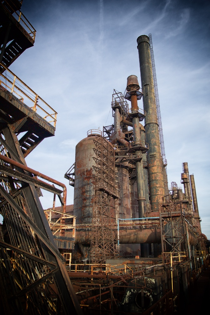 One of the blast furnaces of the steel mill.