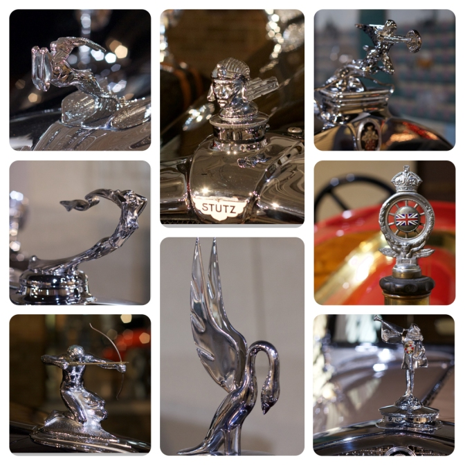 Collage of eight hood ornaments.