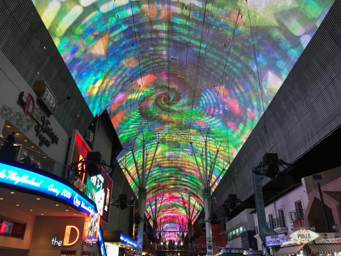 View of colored ceiling along Fremont Street in Las Vegas.