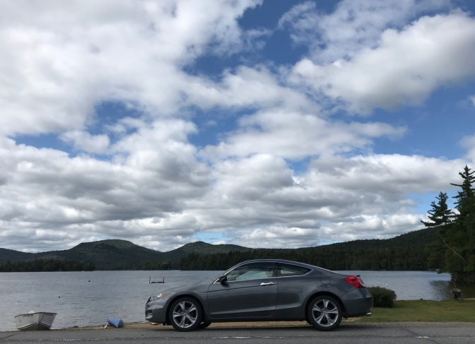 2012 Honda Accord, parked in front of Blue Mountain Lake.