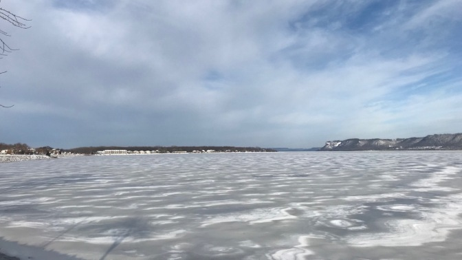 Lake Pepin, covered in ice.