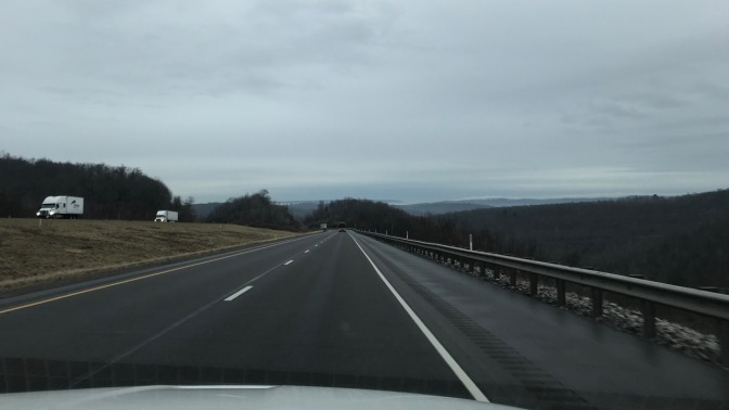 View of rolling hills and mountains along I-80 in Pennsylvania.