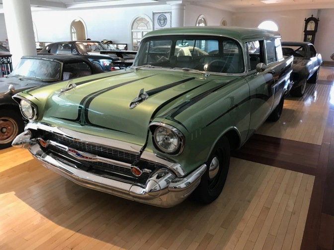 Silver Chevrolet wagon from the 1950s.