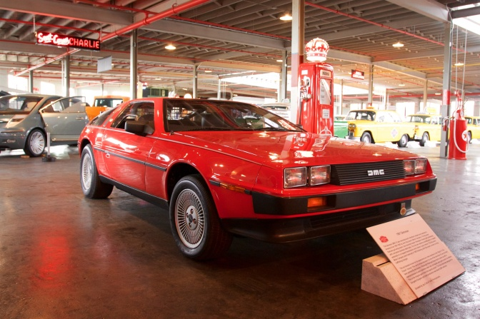 Red Delorean coupe.
