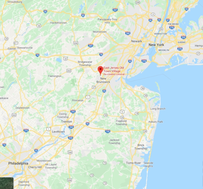 Map of New Jersey with red pin in location of East Jersey Old Town Village in Piscataway.